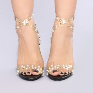 898f5639392 Fashion Nova Shoes - Pearl and gold studded clear block heels